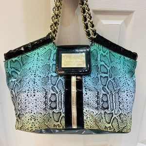 Betseyville Betsey Johnson snake print aqua bag